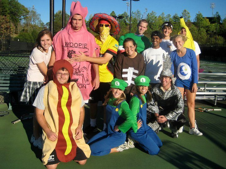 College tennis players in halloween doubles costumes